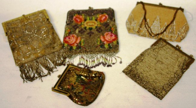 9: COLLECTION OF 5 MISC. BEADED & MESH EVENING BAGS
