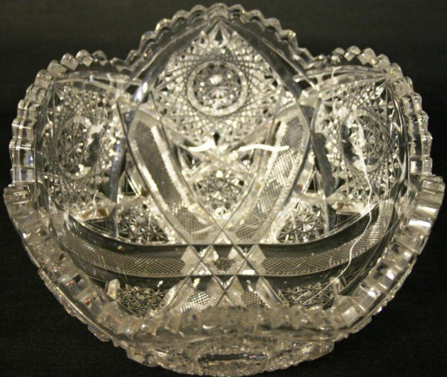 """11: 8"""" CUT GLASS BOWL, SIGNED HOARE,"""