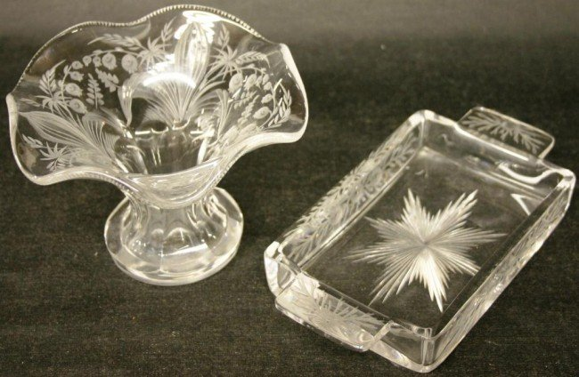 """12: 7 5/8"""" CUT GLASS HANDLED TRAY, SIGNED HAWKES"""