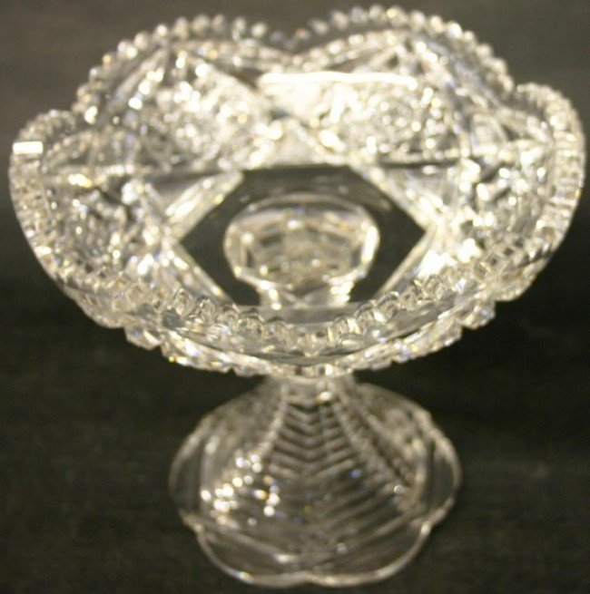 """13: 6"""" CUT GLASS TAZZA TOGETHER WITH 8"""" TRUMPET VASE"""