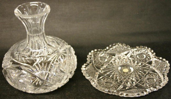 """14: 8"""" CUT GLASS TRAY TOGETHER WITH"""