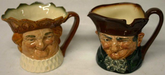 18: TWO LARGE ROYAL DOULTON CHARACTER PITCHERS,