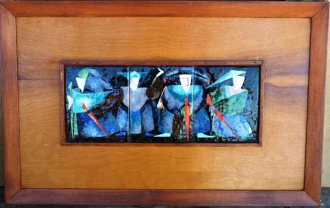 """22: FRAMED ENAMLED TRIPTYCH """"THE BLUE KNIGHTS"""""""