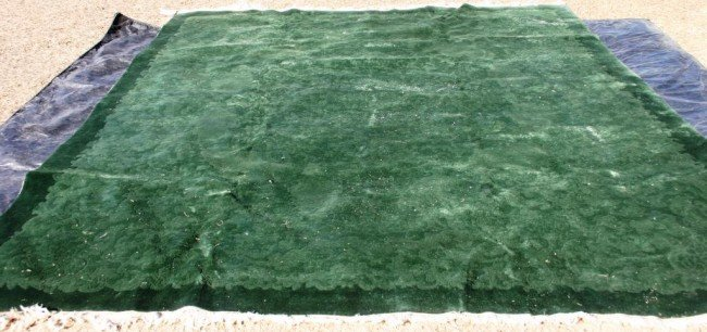 23: ROOM SIZE GREEN SCULPTURED CHINESE RUG