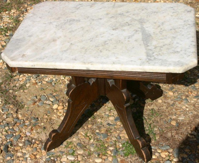 5: LOW VICTORIAN WALNUT TABLE WITH MARBLE TOP