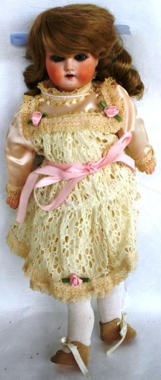 18: GERMAN BISQUE HEAD DOLL, 11/O, COMPOSITION