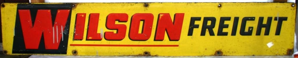 1: EMBOSSED LITHO TIN SIGN, WILSON FREIGHT