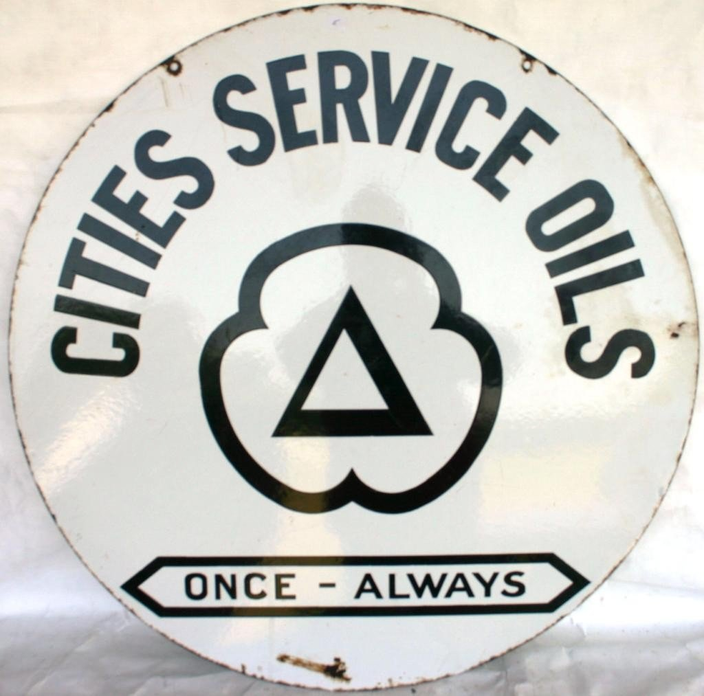 5: ENAMEL DOUBLE SIDED SIGN, CITIES SERVICE OILS