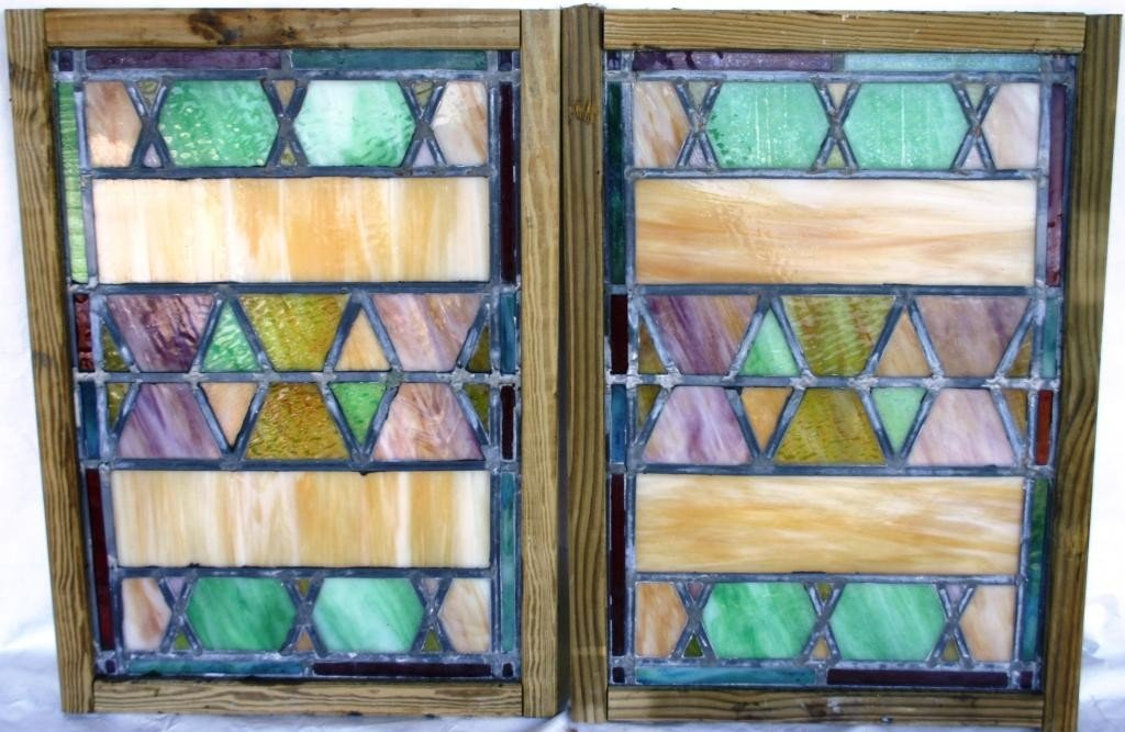 14: PAIR OF LEADED GLASS WINDOWS, MULTICOLOR,