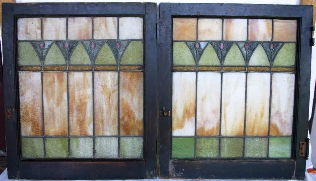 16: PAIR OF ARTS & CRAFTS LEADED GLASS WINDOWS,