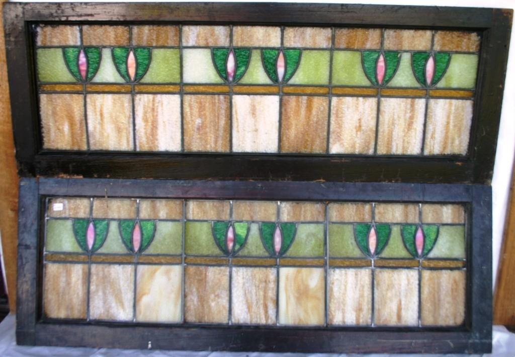 17: PAIR OF ART & CRAFTS TRANSOM WINDOWS