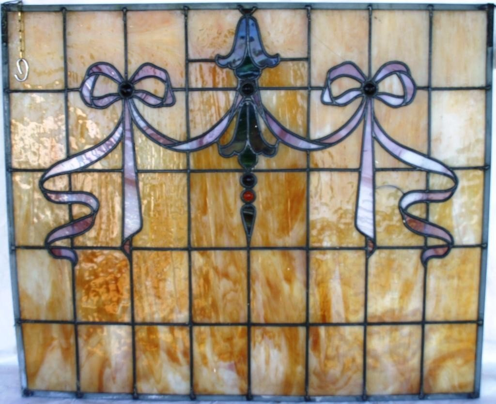 18: LEADED GLASS WINDOW WITH RIBBON & BELL DESIGN