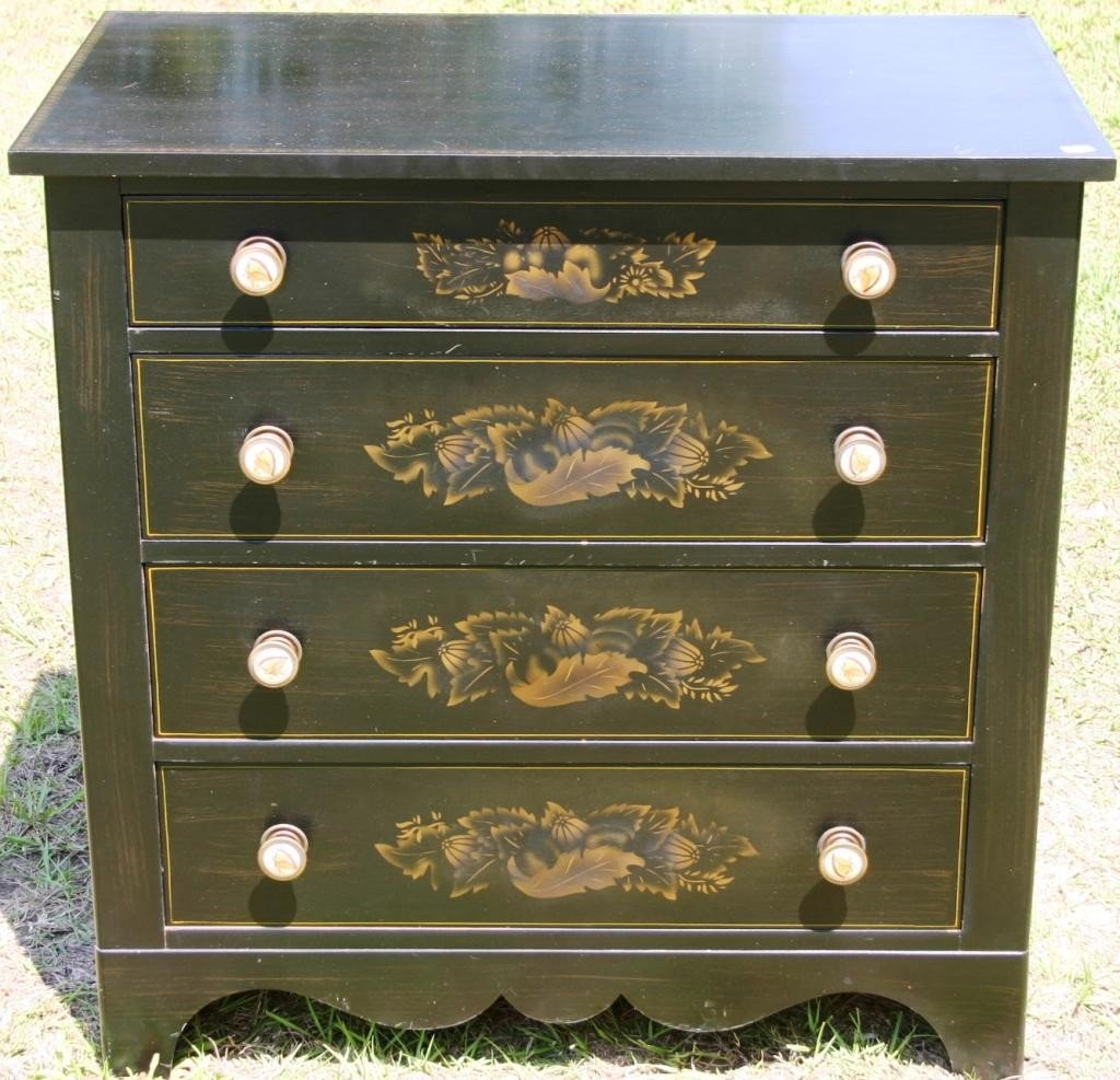 20: PAINTED & STENCILED HITCHCOCK 4 DRAWER CHEST