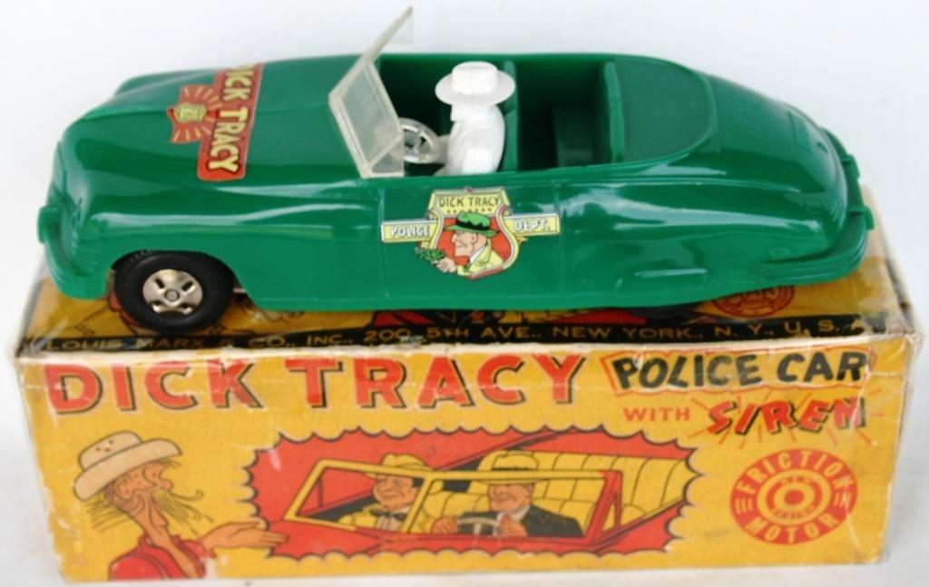 3: MARX MOLDED PLASTIC DICK TRACY FRICTION CAR