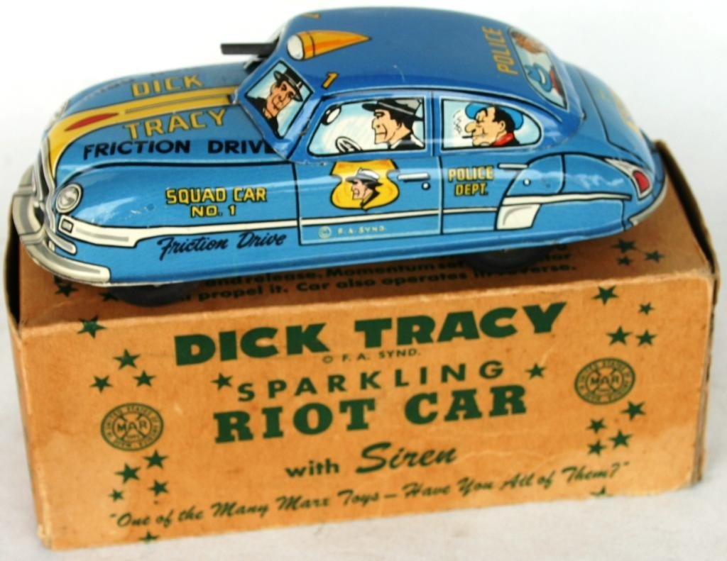 11: MARX LITHO TIN FRICTION DRIVE RIOT CAR,