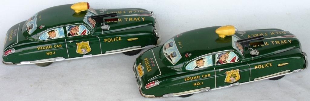 21: TWO MARX LITHO TIN DICK TRACY SQUAD CAR #1