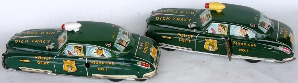 23: TWO MARX LITHO TIN DICK TRACY SQUAD CARS