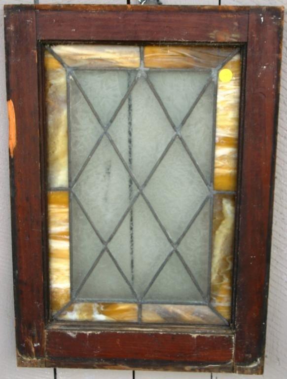 "4: SMALL LEADED GLASS WINDOW, 12"" X 18"""