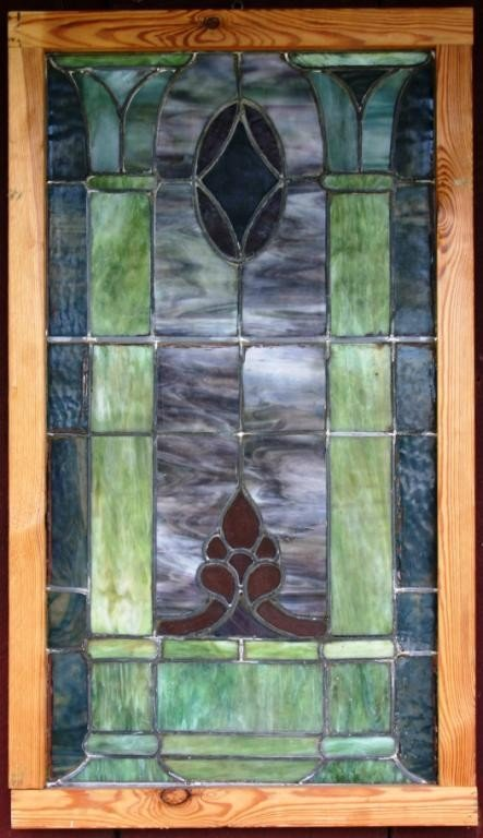 7: LEADED GLASS WITH GEOMETRIC COLUMN DESIGNS