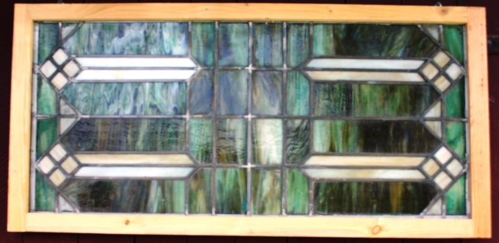8: ARTS & CRAFTS STYLE LEADED GLASS WINDOW,