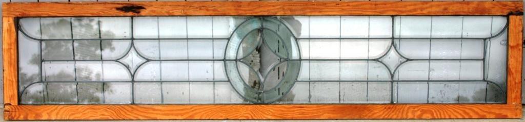 2: FRAMED BEVELED GLASS LEADED WINDOW,