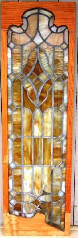 3: SHAPED LEADED SLAG GLASS WINDOW,