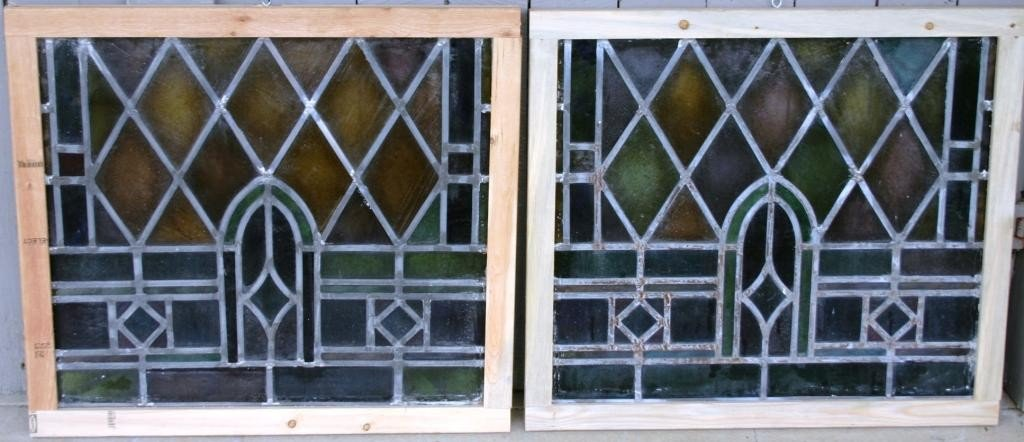 7: PAIR OF LEADED GLASS WINDOWS WITH