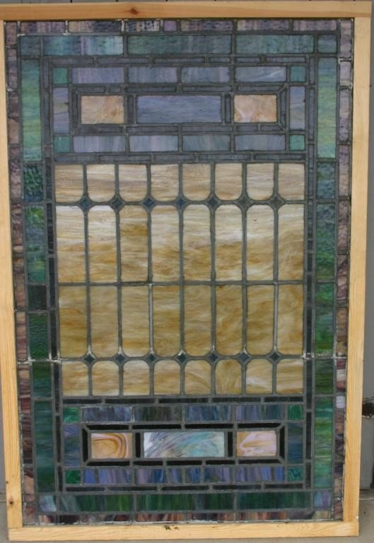 8: LARGE LEADED GLASS WINDOW WITH