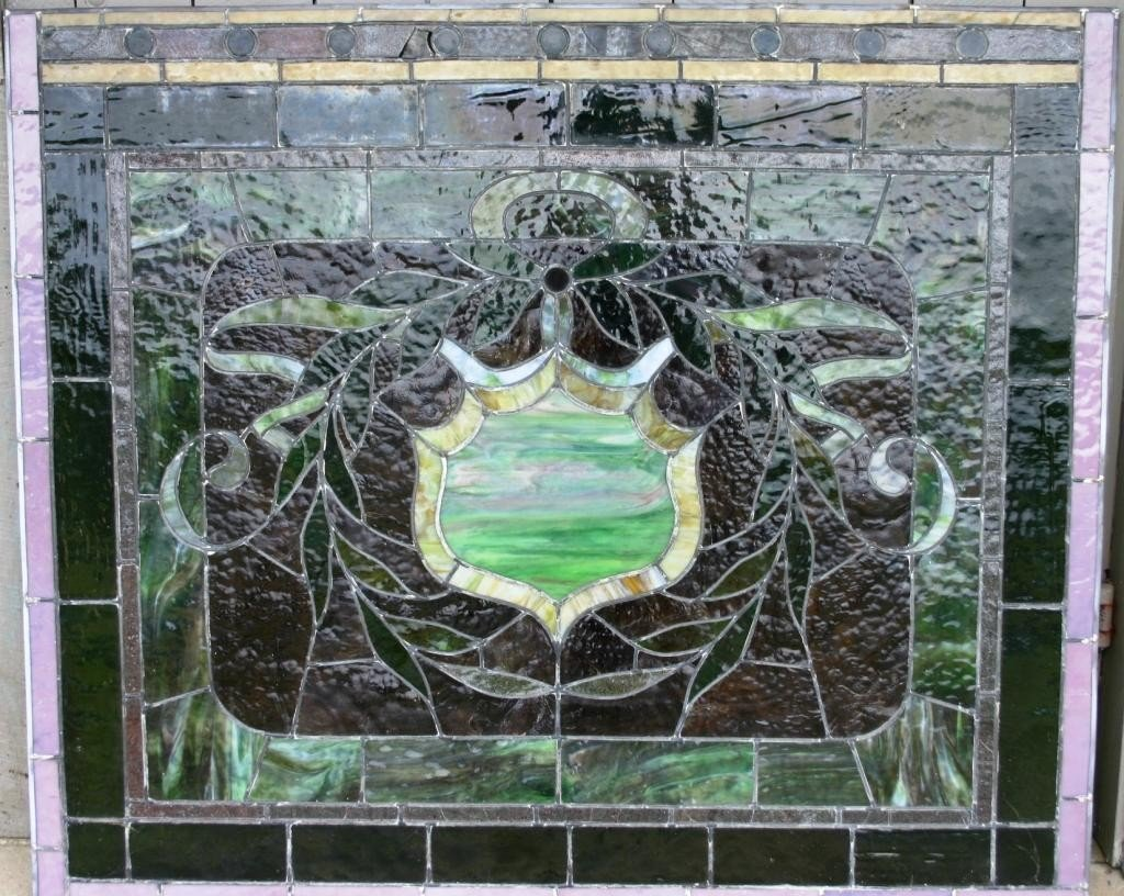 9: LEADED GLASS WINDOW WITH SHIELD AND