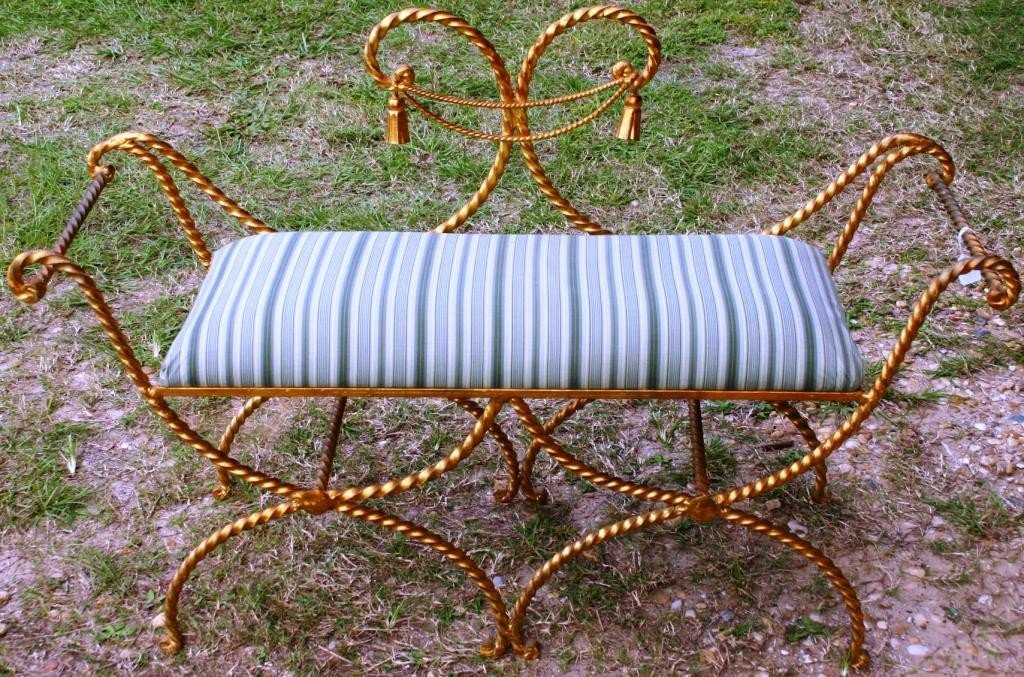 13: GOLD PAINTED WROUGHT IRON BENCH,