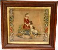 54 FRAMED  GLAZED 19TH C NEEDLEWORK PICTURE