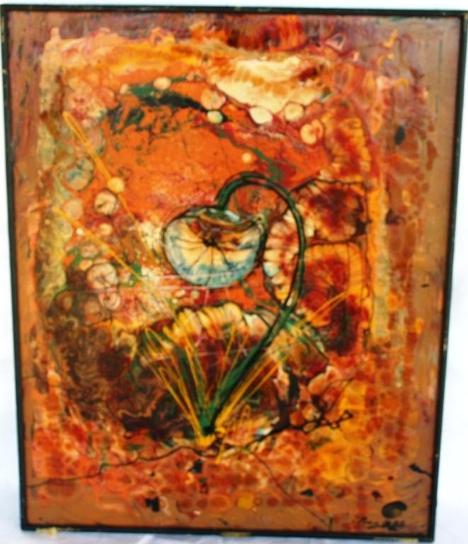 8: OIL ON PARTICLE BOARD, ABSTRACT FLORAL SCENE,