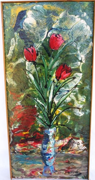 9: OIL ON PARTICLE BOARD, FLORAL STILL LIFE,