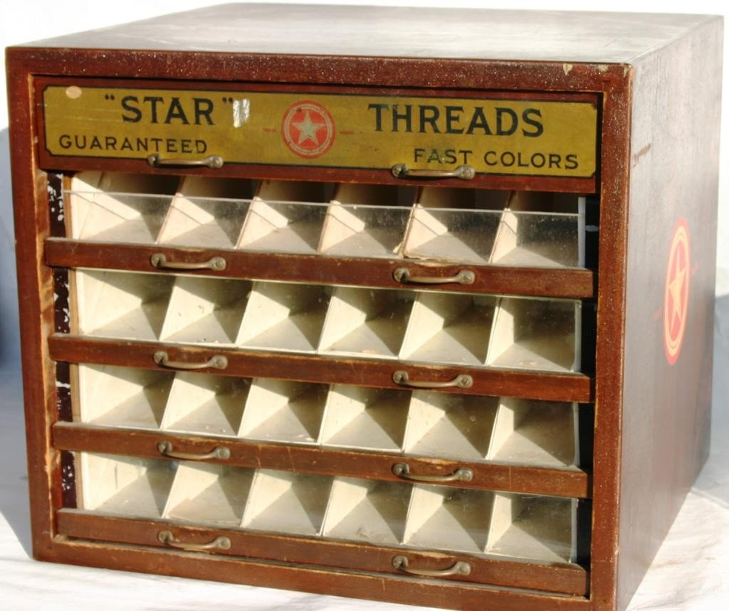 13: EARLY 20TH C. SPOOL CABINET, ADVERTISING