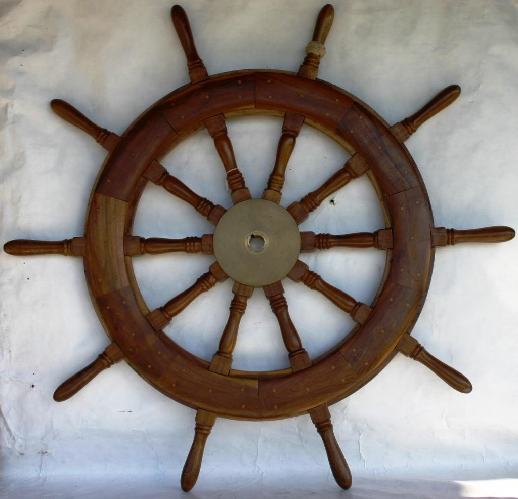 14: TURNED TEAK SHIPS WHEEL WITH BRASS HUB