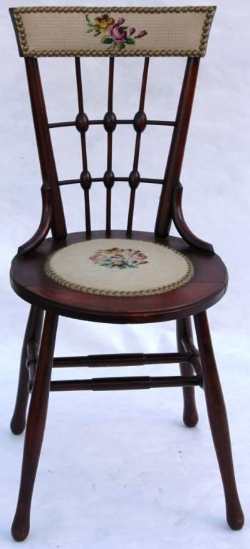 17: VICTORIAN CHERRY STICK AND BALL SIDE CHAIR,