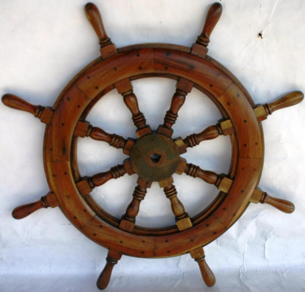 "19: SMALL TEAK & BRASS SHIPS WHEEL, 32"" DIA."