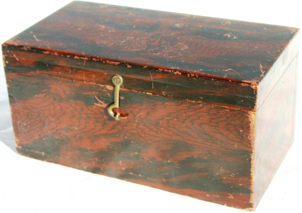 22: 19TH C. GRAIN PAINTED LIFT TOP BOX,