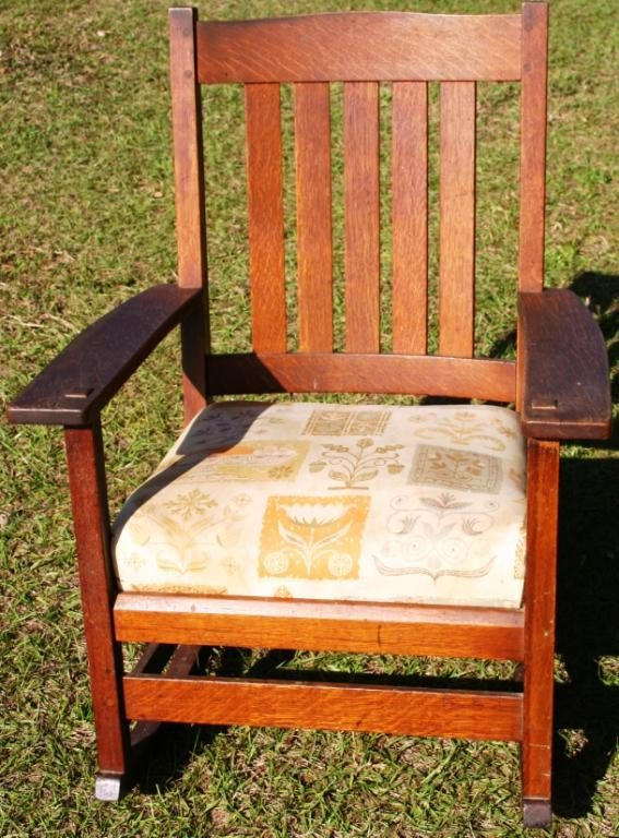 23: L. & J.G. STICKLEY ARMED ROCKER WITH ORIGINAL