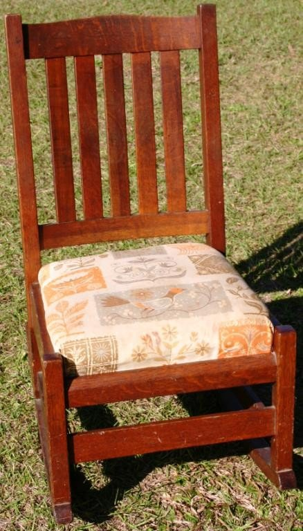 23A: L. & J.G. STICKLEY ARMLESS ROCKER WITH ORIGINAL
