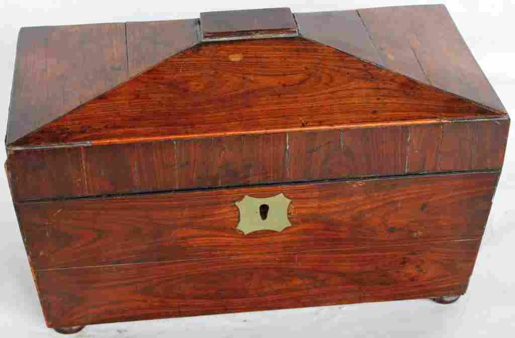 261: 19TH C. ROSEWOOD VENEER TEA CADDY,