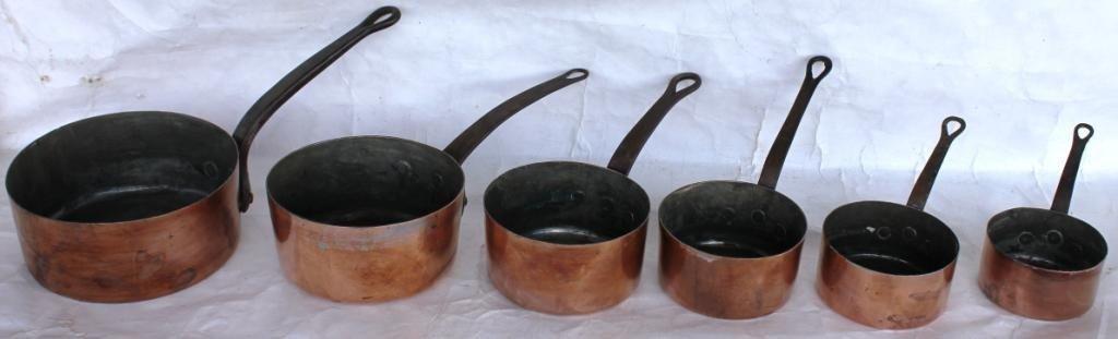 2: SET OF 6 GRADUATED COPPER PANS,