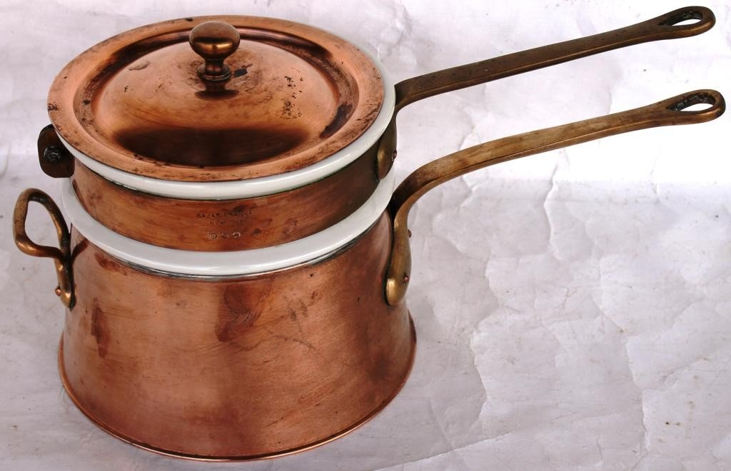 3: COPPER DOUBLE BOILER WITH HALL PORCELAIN INSERT,