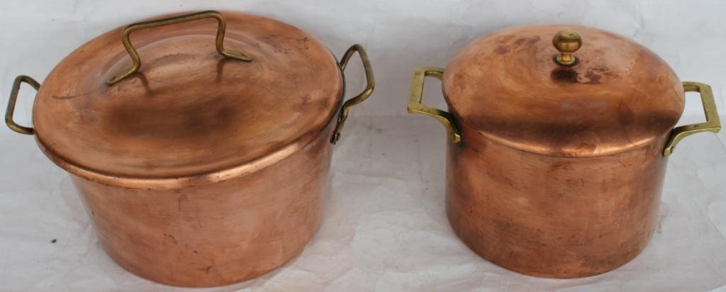 5: TWO DOUBLE HANDLED COPPER POTS,