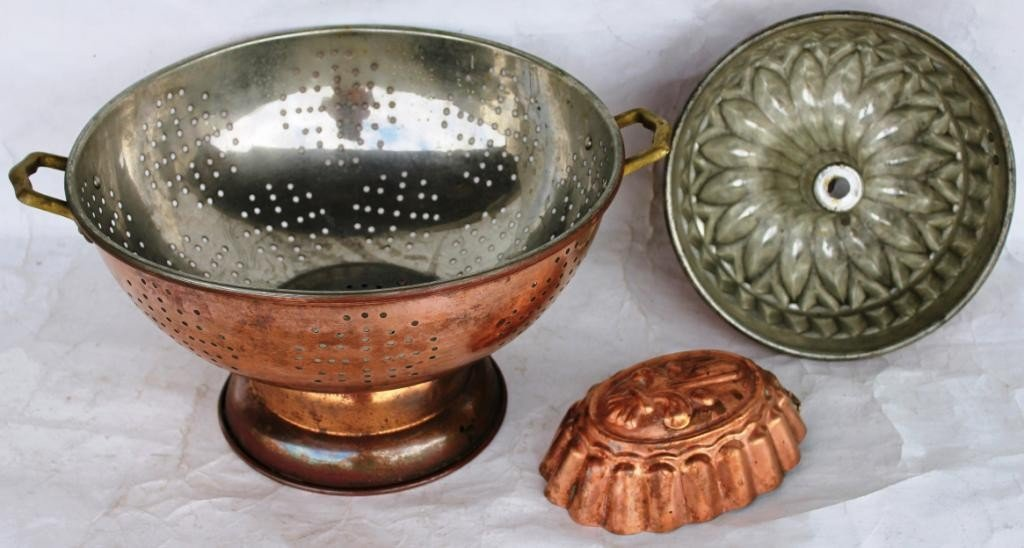 """6: 3 COPPER ITEMS TO INCLUDE, COLANDER 7"""" H,"""