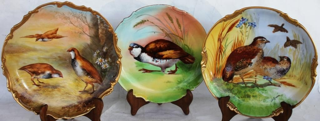 14: LOT OF 3 LIMOGES HANGING PLATES,
