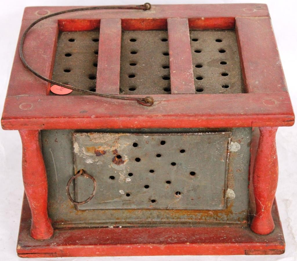 18: 19TH C. PIERCED TIN FOOT WARMER, WITH TURNED