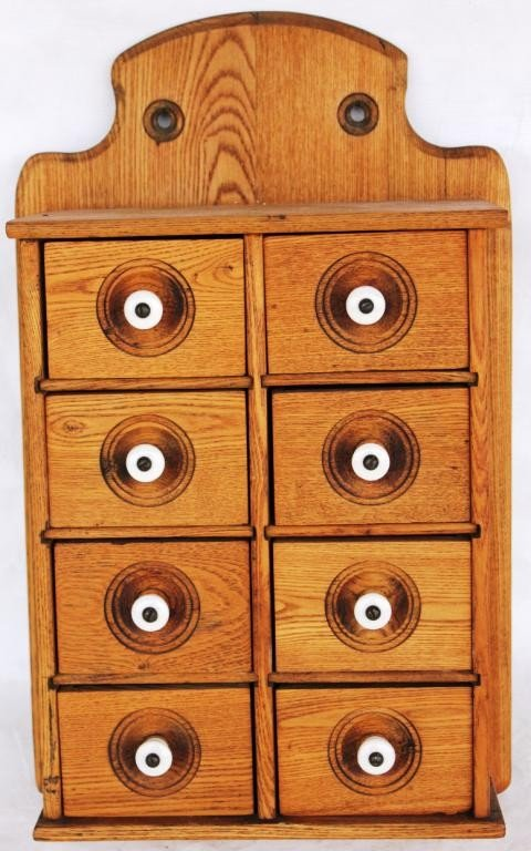 19: REFINISHED 19TH C. 8 DRAWER SPICE CHEST