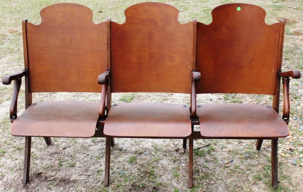 20: 1920s 3 SECTION FOLDING AUDITORIUM SEAT,