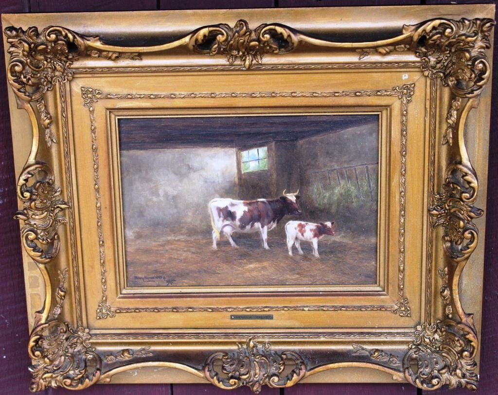 86: OIL ON BOARD, COWS IN BARN, SIGNED